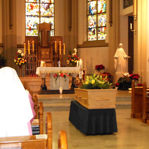 Sister's remains in the chapel just before Holy Mass